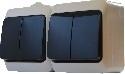 Блок - два двухклавишных выключателя (черные клавиши) 2ВЗ10-2-IP44N