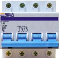 Автоматический выключатель УКРЕМ ВА-2002 4р (3+N) 25А АсКо